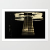 guitar Art Prints featuring guitar by Ingrid Beddoes