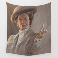 melissa smith Wall Tapestries featuring Maggie Smith Gives the Finger by Dani Hartel