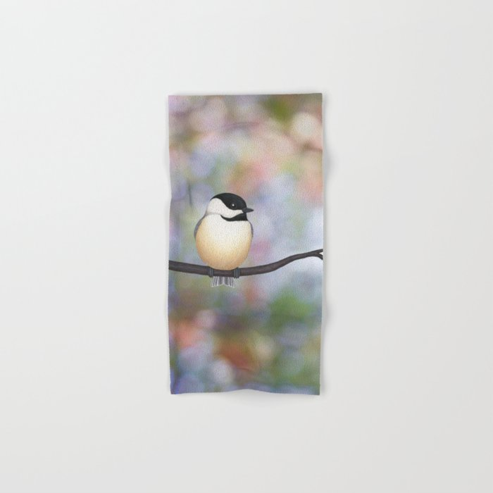 black capped chickadee on a branch Hand & Bath Towel