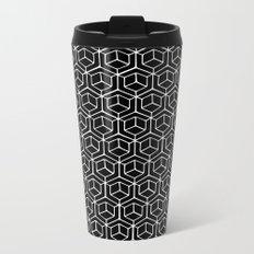 Hand Drawn Hypercube Black Metal Travel Mug