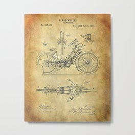1895 A Wolfmuller Velocipede Motorcycle Patent - Blueprint Metal Print