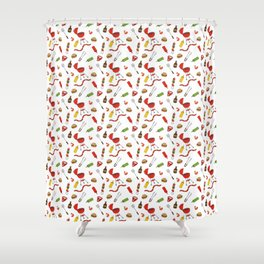 Grilling - BBQ Doodle Pattern Shower Curtain
