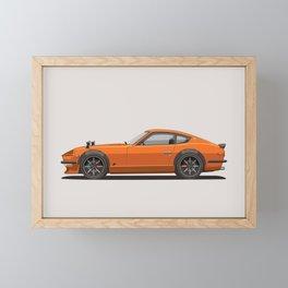 Legendary Classic Orange 240z Fairlady Vintage Retro Cool German Car Wall Art and T-Shirts Framed Mini Art Print