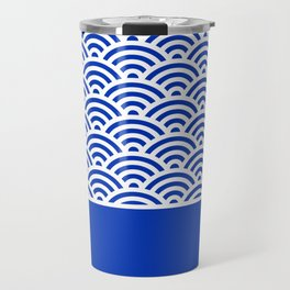 Dark Blue Seigaiha Wave Crest With Solid Panel Travel Mug
