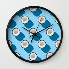 Kitschy Coconuts on Turquoise Wall Clock