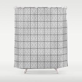 Gray Greek Key Pattern Shower Curtain