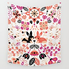 Bunny Lovers – Peach & Black Palette Wall Tapestry
