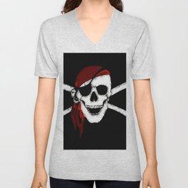 Creepy Pirate Skull and Crossbones Unisex V-Neck