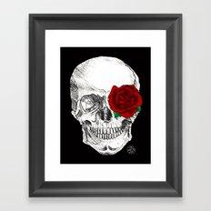 Rose Skull Black Framed Art Print
