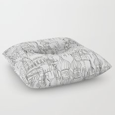 Russian cathedral church line drawing Floor Pillow