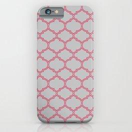 Grey and Red Lattice iPhone Case