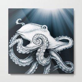 Octopus Tentacles Moon Rays Ink Metal Print