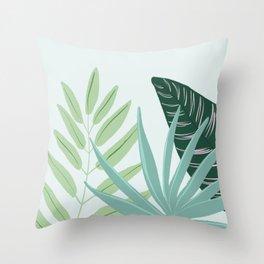 Pastel Tropical Plant Illustration Throw Pillow