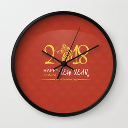 Chinese New Year poster for the year of the earth dog 2018 Wall Clock