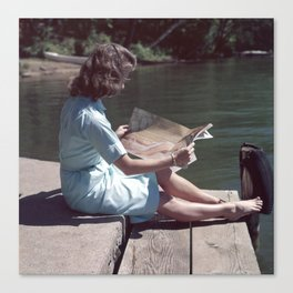 Woman Reading By The Lake (Vintage) Canvas Print