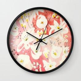 Spring Field in Crimson Peach Wall Clock