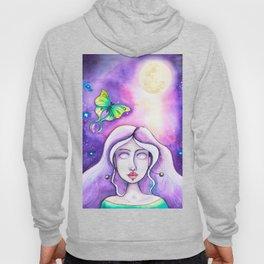 Moon Goddess - Watercolor Whimsical Girl with Luna Moth Hoody