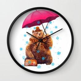 Winter bear Wall Clock