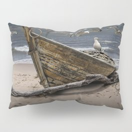Gulls Flying over a Shipwrecked Wooden Boat Pillow Sham