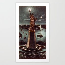 Currier & Ives. - Print c.1884 - Statue of Liberty at night Art Print