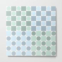 Green and blue circles and squares Metal Print
