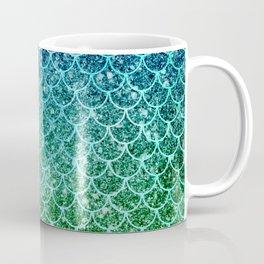 Mermaid Blue & Green Glitter Ombre Scales Coffee Mug