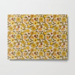 70s retro yellow flowers, hippie, boho, groovy, pattern Metal Print
