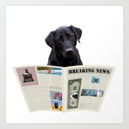 Black Labrador Dog - Breaking News Newspaper  Art Print