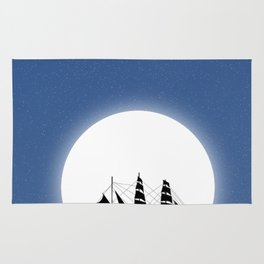 Sailing with Full Moon and Shooting Star Rug