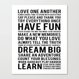 """Inspirational Quote """"Family Rules"""" Subway Stlye Family Typography Nursery Print Motivational Quote Canvas Print"""