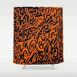 Laberinto ocre black Shower Curtain