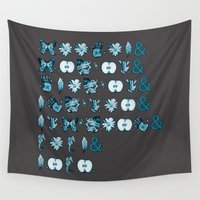 fringe Wall Tapestries featuring Fringe Glyph List (Grey) by Passive Fluency