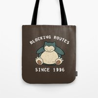 snorlax Tote Bags featuring Snorlax by jeice27
