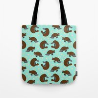 platypus Tote Bags featuring Platypus Love by Joanne Paynter