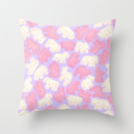 Frosted Animal Cookies on Lilac Throw Pillow