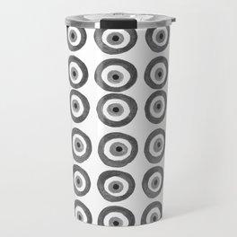 Evil Eye Amulet Talisman Black White Gray on white Travel Mug