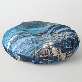 Costal Vibes // Northeastern Maine Rocks and Ocean Photograph Floor Pillow