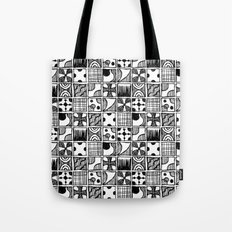 Black and White Abstract Squares Tote Bag