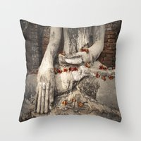 buddhism Throw Pillows featuring Buddha with flowers by Maria Heyens