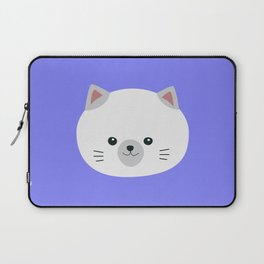 Cute white kitty with gray ears Laptop Sleeve