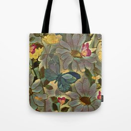 Painterly Flowers and Butterflies Tote Bag