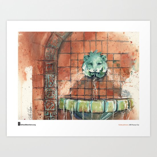 "Cathy Johnson, ""Hall of Waters Lion"" Art Print"