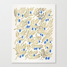 Olive Branches – Gold & Blue Canvas Print