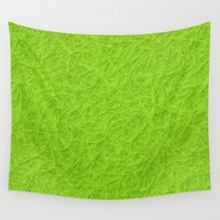 lime green Wall Tapestries featuring Lime green 3D carpet texture by Natalia Bykova