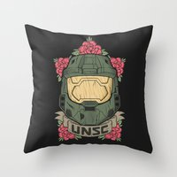 halo Throw Pillows featuring Halo UNSC by Daniel Mackey