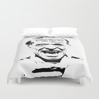 bukowski Duvet Covers featuring Charles Bukowski Quote Crazy by Fligo