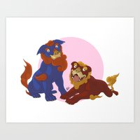 pit bull Art Prints featuring Pit Bull Shisa Guardians by AlliePets