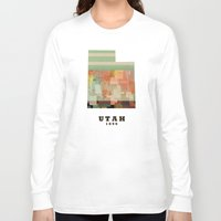 utah Long Sleeve T-shirts featuring Utah state map modern by bri.b