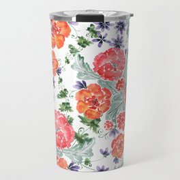 Floral pattern. Red, purple flowers on white. Travel Mug