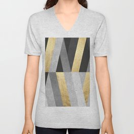 Gold and gray lines I Unisex V-Neck